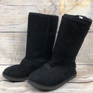 Girls 4 Faux Fur Lined Black Suede Boots